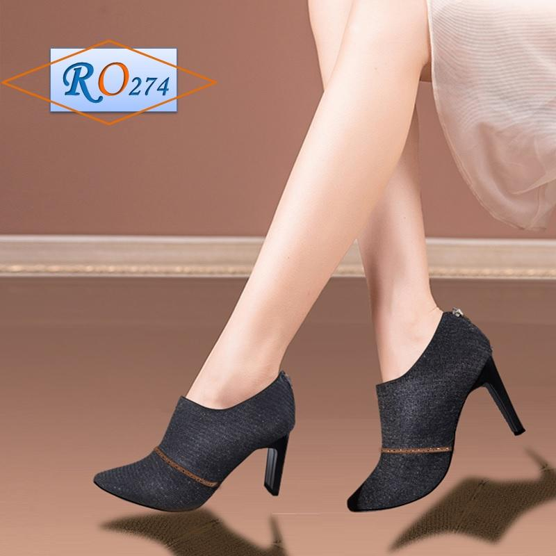 Giày Boot Cổ Thấp RO274 Màu Đen