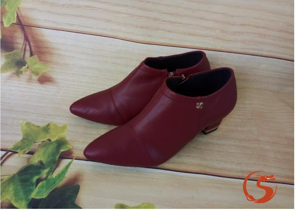 Giày boot nữ RO178 màu Đỏ Bầm