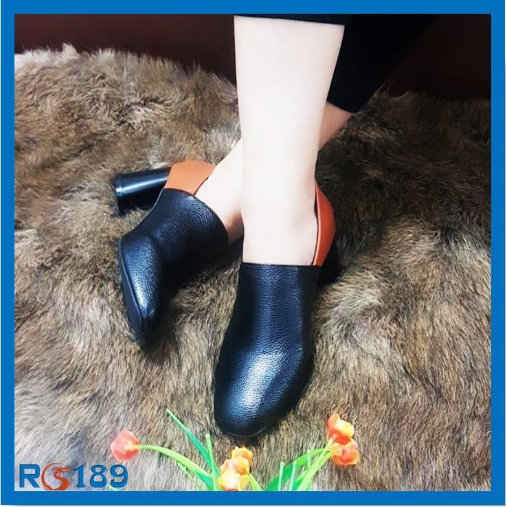 Giày boot nữ RO189 màu đen Phối Bò