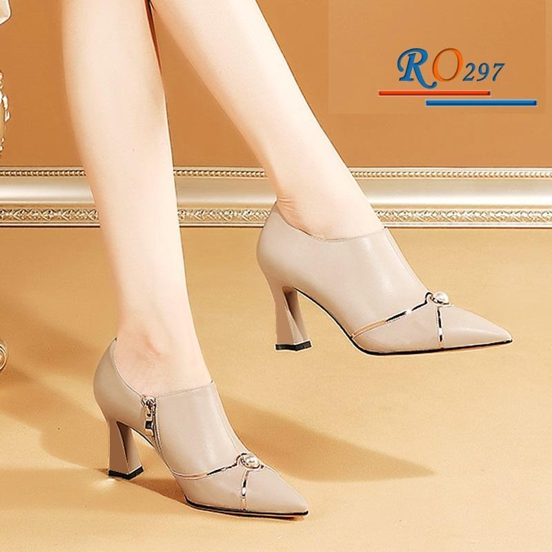 Giày Boot nữ RO297 Màu Kem