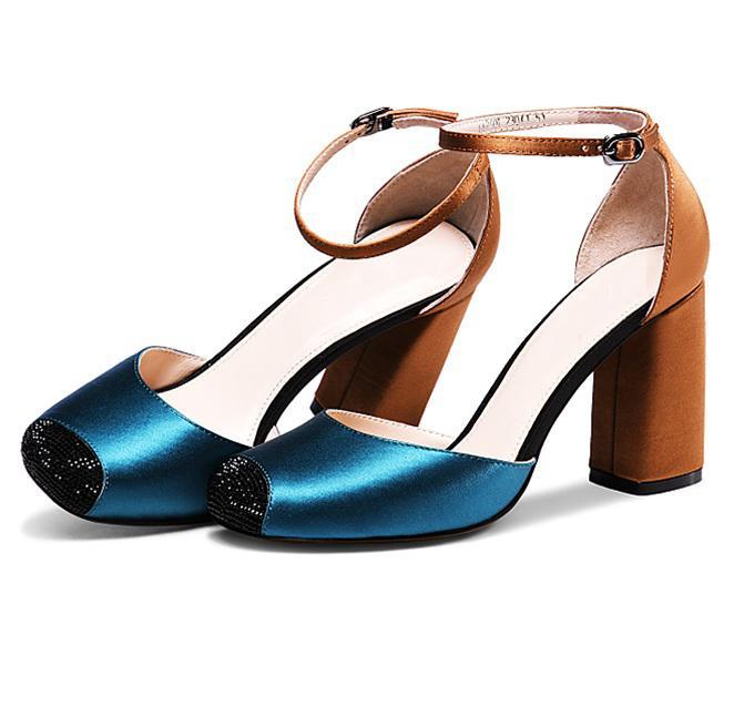 Giày cao gót nữ CGN035 màu xanh