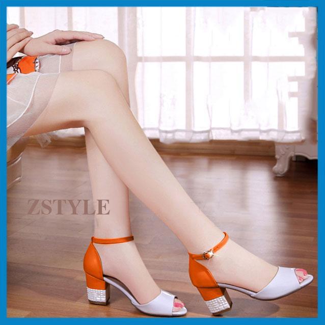 Giày cao gót nữ CGN07 màu cam-trắng