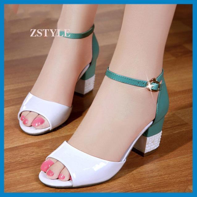 Giày cao gót nữ CGN07 màu xanh-trắng
