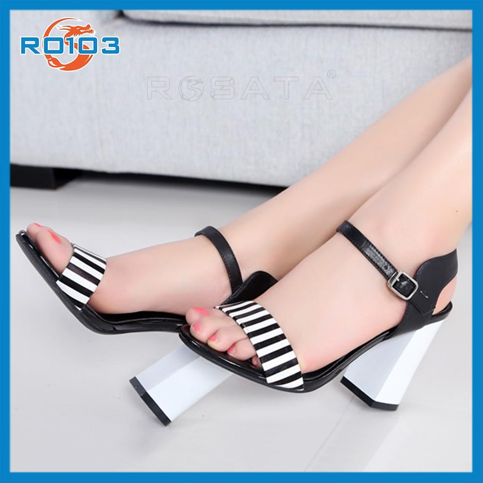 Giày cao gót nữ Phối Sọc RO103