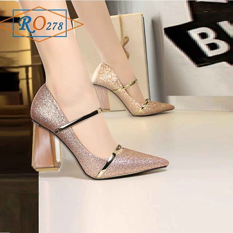 Giày Xăng đan nữ RO278 Màu Hồng Kim Tuyến